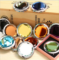 Wholesale Crystal Mirror Logo - 100pcs lot 7cm folding makeup mirror compactwith crystal, metal pocket mirror +Box gift cosmetic mirror DHL Free Ship Logo Print
