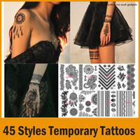 Wholesale Eye Tattoos Stickers Lace - 2015 New Lace Bridal Tattoo Stickers Black Lace Wedding Fashion Tattoo Sticker Temporary Tattoo Stickers 45 Styles
