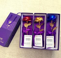 Wholesale Wholesale 24k Gold Jewelry - PrettyBaby 24k Gold Rose Foil Flowers Jewelry for Women Lovers Valentine Day Handcrafted Gifts with Box for Mother Birthday Gift 3 colors