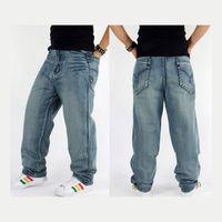 Wholesale trousers men rap - Wholesale-Baggy jeans hiphop mens hip-hop style men's jeans skateboard pants rap dance loose trousers waist size 30-42