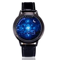 Wholesale Touch Screen Led Round Watch - Fashion Digital LED Touch Screen Watches Starry Star Moon PU Leather Wristwatch Men Women Unisex Creative Casual Watches
