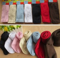 Wholesale Kids Red Pantyhose - Great Quality Girl Tight Kid Collant Cotton Making Solid Color Five Color White Pink Blue Red Dark Blue Eight Sizes Children's Pantyhose