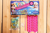 Wholesale Christmas Rubber Band Loom Kits - 2014 Hot sale Christmas Frozen Rainbow Loom Bands Fun DIY Loom Rubber Kit Colorful Bracelets Charm Bracelet For Children Toy Gift 370