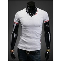 Wholesale Low Priced Men Tees - Wholesale-Fashion Style High Quality Low Price Brand Cotton Men's Tops Tees V-Neck Short Sleeve Stripes Embellished Men' s T-Shirt