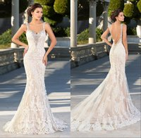 Wholesale organza spaghetti strap wedding dress resale online - 2018 Crystal Beads Mermaid Lace Ruffle Wedding Dresses Sweetheart Spaghetti Straps V Neck Backless Applique Sheer Wedding Bridal Gowns