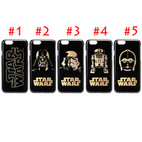 Wholesale Iphone Cases Character - iPhone 5 6 6plus Darth Vader R2D2 C3P0 Star Wars Phone Case Gold Character Frosting PC Hard Back Cases Cover DHL Free SCA075
