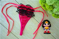 Wholesale Tanga Pants - Free Shipping New Sexy Lingerie G-String G String Thong Panties Women Pants Brief T Back Underwear Love Pink Lace Tanga Braga Wholesale XID