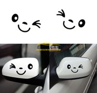 Wholesale New Side Mirror For Car - 2 pieces Set Brand New 3d Smile Face Design Decoration Sticker For Car Side Mirror Vinyl Decal