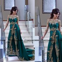 indischen stil prom kleid großhandel-2019 arabisch indischen Stil formale Abendkleider Rundhalsausschnitt schiere Pailletten Kristall Gold Lace Side Slit Kleider Party Abend Prom Kleider