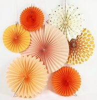 New 7pcs Orange Set Paper Crafts Home Hanging Decorazione Festa di compleanno Matrimonio Baby Shower Sunshine Colore brillante Fan