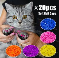 yumuşak pençe tutkalı toptan satış-Silikon Yumuşak Kedi Tırnak Caps / Kedi Paw Pençe / Pet Tırnak Koruyucu / Kedi Tırnak Ücretsiz Glue ve Applictor ile Kapak G1123