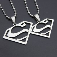 Wholesale stainless superman pendant resale online - Hot Sale Fashion Jewelry Silver Tone Stainless Steel Superman logo Couple Pendants Necklace Gift