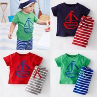 Wholesale Boys Shirts Designs - 6 Design Boy pirate ship fish stripe 2 pcs Suit 2016 new children cartoon Short sleeve T-shirt +shorts 2 pcs Suit B001