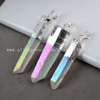 Wholesale Aura Crystal Beads - Hot! Wholesale Angel Aura Quartz Pendant Bead Silver Plated Titanium Quartz Crystal Point Druzy Quartz Fashion Jewelry Gift 061