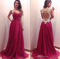 Wholesale Dark Ivory Wedding Dress - 2015 Evening Dresses Backless Wedding Party Dresses Zuhair Murad Dresses Evening Wear Sweetheart Dark Red Evening Gowns with Ivory Appliques