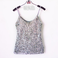 Wholesale Ladies Gold Sequin Shirt - Wholesale-Womens Summer Camis tank top Gold Blue White Black ladies sequin vest top Women Shining Bling Sleeveless Vest Sequin Top T shirt