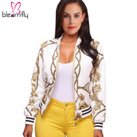 Wholesale gold bomber - Wholesale- Autumn Ladies Bomber Jackets Retro Baseball Coat for women White Black Print Feminina Basic Outwear Gold Chain Print Clothes