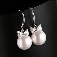 Wholesale pearl earrings bridesmaids - Cute Pearls Drops Bridal Earrings Cubic Zirconia Crystal White Bridesmaid Gift Wedding Earrings Silver Bridal Jewelry