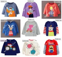 Wholesale Cotton Button Shirt For Baby - 2016 Little maven Baby long sleeve Christmas t-shirt boys striped sant t shirt tops girls animal cotton tshirt children polos 9pcs for 1-7T