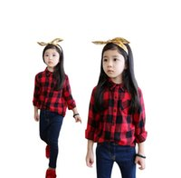 original kids clothing - Original or With Velvet Fashion Children Clothes Girls Cotton Collar Long Sleeve Plaid Shirts Red Black Kids Korean Girl Cloth D6177
