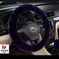 Wholesale Warm Steering Wheel Covers - New Year Gift for Girl Genuine Fur Steering Wheel Cover Steering Wheel Hubs Warm Car Interior Supplies Autumn and Winter General