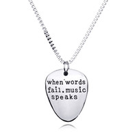 Wholesale Music Pendant Necklaces - When Words Fail Music Speaks Necklace Silver Letter Pendant Inspired Jewelry for Women Men Drop Shipping