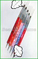 Wholesale Two Way Pen Brush - Wholesale-Freeshipping-5 in 1 two ways Steel Dotting Tool&UV Gel Brush Marbleizing Pen Nail Art Decoration Tool #0064-1