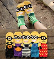 Wholesale Cute Socks Price - Despicable Me Minions Women 3D Catoon Socks Fashion Cute cotton Sock Three-dimensional Little Yellow People Series Socks Factory price