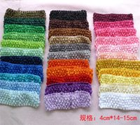Wholesale Popular Baby Headbands - 100pc lot Baby kids hair band 1.7 inch Crochet Head Baby hairbands girls stretch headbands Candy color headbands popular Hair Accessories