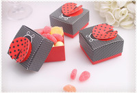 Wholesale Moon Foods - wedding Ladybug shape candy box,Baby full moon party cute candy box Delicate folding candy box