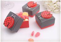 Wholesale full moon party - wedding Ladybug shape candy box,Baby full moon party cute candy box Delicate folding candy box