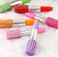 Wholesale Wholesale Rhinestone Lipstick Pen - Multicolor Rhinestone Stationer Lipstick Shape Ballpoint Pen Thick Ballpen Ramdom Color