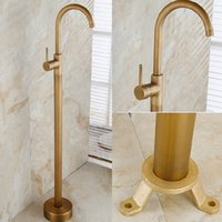Wholesale Tub Faucet Mixer - Wholesale And Retail Floor Mounted Bathroom Tub Faucet Single Handle Hole Antique Brass Floor Mounted Valve Mixer Tap