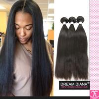pacotes de cabelo 5a peruanos venda por atacado-Rosa Produtos para o Cabelo Virgem Peruana Kinky Cabelo Liso 3 Ofertas Bundle 5a Cabelo Virgem Peruano Cabelo Liso Premium 2 Cabelo Cheveux Bresilien