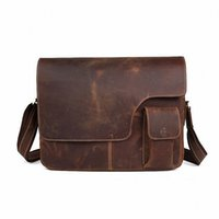 Wholesale 17 Laptop Messenger Bag Leather - Wholesale-Crazy horse leather Vintage Men's Messenger Bag 100% Genuine leather Cross Body 17 inches Laptop Shoulder Bags Briefcase