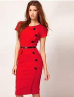 kariyer elbiseleri giydirme toptan satış-Toptan-2015 Yaz Kadın Renkli V Yaka Diz Boyu Düğme Eski Bandaj İş Parti Kariyer Iş Elbisesi Bodycon Casual Kalem Elbise