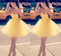 Wholesale Organza Knots - Beaded Crystals Cute Sweetheart Homecoming Dresses Yellow Organza Piping Charming Short Party Dresses Bow-knot Sheer Lovely Cocktail Dress