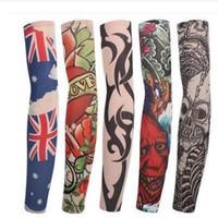nuevas medias de diseño al por mayor-Nuevo Mutylti sle 100% poliéster elástico falso tatuaje temporal diseños manga del brazo del cuerpo del tatuaje para hombres frescos mujeres IC895