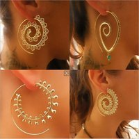 8 tipos Big Swirl Hoop Earrings for Women 2017 Novo Bohemian Geometric Earring Feminino Punk Round Boho Jewelry bijoux
