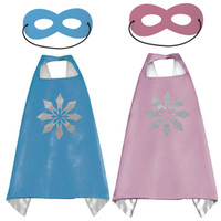 Wholesale costume hands - Gold Hand 1 Cape+ 1 Mask Superhero Double Side Kids Cape And Mask Children's Superhero Cape Sets