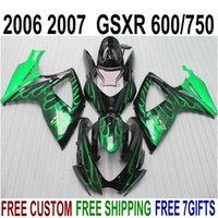 Wholesale Suzuki Gsxr Fairings Green - Freeship plastic fairing kit for SUZUKI GSXR 600 GSXR 750 06 07 K6 green flames black fairings set GSX-R600 750 2006 2007 V78F