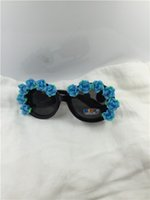 Wholesale Clay Rose Sunglasses - Wholesale-Drop free shipping NEW summer kid's round black frame blue rose flower clay flower UV 400 plastic sunglasses