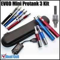 Wholesale Ce4 Pro Tank - Evod mini protank 3 e cigarette kits mini Pro tank 3 pyrex glass dual coils atomizer Evod batteries 650 900 1100mah ecig VS X6 X9 ego ce4