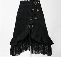 Wholesale Women Victorian Skirt - Women Steampunk Rock Gothic Victorian Black Lace Skirt Gypsy Hipp Club Wear