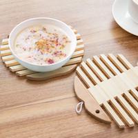 coussin de chaleur en bambou achat en gros de-NOUVEAU - Tablette chaude en bois de bambou Coupe assiette à plat Holder trivet pad de chauffage Accessoires de cuisine 15.5cm * 15.5cm