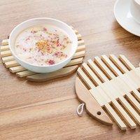 ingrosso tazza di rilievo di bambù di calore-NOVITÀ - pad caldo in legno di bambù Piatto piano tazza Supporto sottopentola Heat pad Accessori cucina 15.5cm * 15.5cm