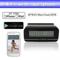 Wholesale Wireless Camera Computers - Clock wireless WiFi camera DVR For Android IOS Phone Tablet Computer