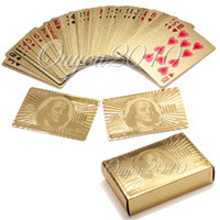 Wholesale Unusual Birthday Gifts - Certified Pure 24 K Carat Gold Foil Plated Poker Playing Cards w  52 Cards & 2 Jokers Special Unusual Gift Birthday Novelty Pre