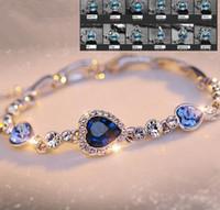 Wholesale austrian swarovski crystal jewelry resale online - 12 constellations Swarovski Elements Austrian Heart Crystal Charm Bracelet Top quality K gold plated fashion jewelry wedding gift