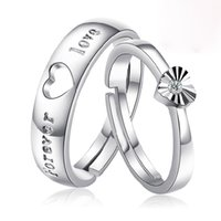 Wholesale Pure Love Ring 925 - Freeshipping Resizable Ring Couples Ring 925 Pure Silver Plating Platinum Wedding Rings Can Adjust The Size Of The Forever Love Color Silver